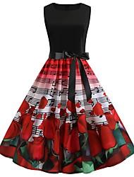 Недорогие -Жен. Уличный стиль Элегантный стиль С летящей юбкой Платье - Контрастных цветов, С принтом До колена