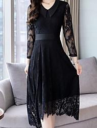 preiswerte -Frauen midi dünnes Hemd Swingkleid V-Ausschnitt schwarz S m L xl