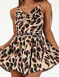 baratos -Mulheres Básico Preto Macacão, Leopardo M L XL