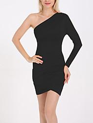 preiswerte -Frauen über Knie Etuikleid eine Schulter Baumwolle weiß rot schwarz m L xl