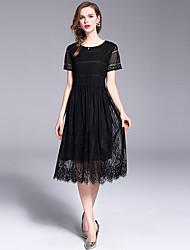 Χαμηλού Κόστους -Γυναικεία Κομψό Swing Φόρεμα - Μονόχρωμο Λεοπάρ, Δαντέλα Μίντι