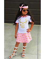 voordelige -Kinderen / Peuter Meisjes Actief / Standaard Polka dot / Print / Cartoon Print Korte mouw Normaal Normaal Katoen / Polyester Kledingset Blozend Roze