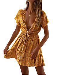 halpa -naisten edellä polvi linja mekko syvä v puuvilla valkoinen musta keltainen s m l xl