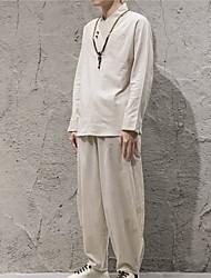cheap -Men's Linen Shirt - Solid Colored