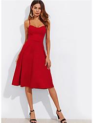 Недорогие -Жен. Богемный Элегантный стиль Оболочка Платье - Однотонный, Пэчворк Средней длины