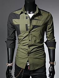 Недорогие -Муж. Рубашка Контрастных цветов Красный / Длинный рукав