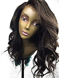 Недорогие -Натуральные волосы Лента спереди Парик Стрижка боб Короткий Боб Свободная часть стиль Бразильские волосы Волнистый Черный Парик 130% Плотность волос / Природные волосы / 100% ручная работа
