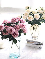 Χαμηλού Κόστους -Ψεύτικα λουλούδια 1 Κλαδί Κλασσικό Μονό Σύγχρονη Σύγχρονη Λουλούδια Γάμου Τριαντάφυλλα Λουλούδι για Τραπέζι