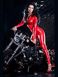 """Недорогие -Костюмы на все тело """"зентай"""" Костюмы кошки Кожаный костюм Девушка мотоцикла Взрослые дерматин Латекс Косплэй костюмы Балетное трико Жен. Красный Однотонный Хэллоуин Карнавал"""
