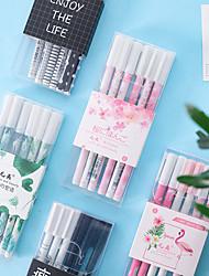 Недорогие -Пластиковый корпус Розовый / Армейскийзеленый / Черно-белый 6шт Гелевая ручка 18*6.5*1 cm