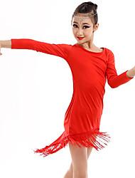 abordables -Danse latine / Tenues de Danse pour Enfants Tenue Fille Entraînement / Utilisation Spandex Gland Manches Longues Robe / Manche