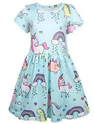 Χαμηλού Κόστους -Παιδιά Κοριτσίστικα Γλυκός Γεωμετρικό Στάμπα Κοντομάνικο Πάνω από το Γόνατο Πολυεστέρας Φόρεμα Μπλε Απαλό