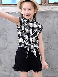 Χαμηλού Κόστους -Παιδιά Κοριτσίστικα Βασικό Συνδυασμός Χρωμάτων Patchwork Κοντομάνικο Πολυεστέρας Σετ Ρούχων Μαύρο