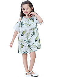 Χαμηλού Κόστους -Παιδιά Κοριτσίστικα Μπόχο Φλοράλ Φούντα Κοντομάνικο Ως το Γόνατο Πολυεστέρας Φόρεμα Θαλασσί