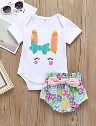 voordelige -Baby Meisjes Actief / Standaard Print Strik / Print Korte mouw Lang Katoen Kledingset Wit