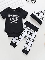 billige -Baby Gutt Aktiv / Grunnleggende Trykt mønster Trykt mønster Kortermet Lang Bomull Tøysett Svart