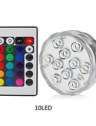 Недорогие -1 шт. 10 светодиодов RGB светодиодный подводный свет пруд погружной водонепроницаемый бассейн свет батареи работает на свадьбу