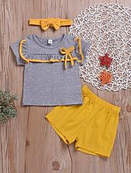 tanie -Brzdąc Dla dziewczynek Aktywny Solidne kolory / Kolorowy blok / Patchwork Łuk / Z marszczeniami Krótki rękaw Regularny Regularny Bawełna / Poliester Komplet odzieży Żółty