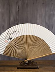 billige -Voksne Herre Dame Asiatisk dusk Kinesisk Stil Cosplay Kostumer Til Fest Hverdag Gave Rent papir Bambus Folding håndholdt vifte