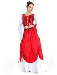 billige -Prinsesse Cosplay Kostumer Voksne Dame Vintage Halloween Festival / høytid Polyester Rød Karneval Kostumer Lapper