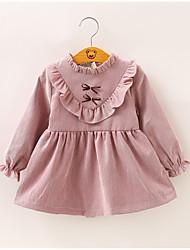 Χαμηλού Κόστους -Μωρό Κοριτσίστικα Ενεργό Μονόχρωμο Patchwork Μακρυμάνικο Πάνω από το Γόνατο Πολυεστέρας Φόρεμα Ανθισμένο Ροζ
