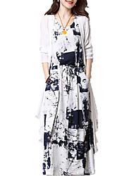baratos -Mulheres Básico Reto Vestido - Patchwork, Geométrica Médio