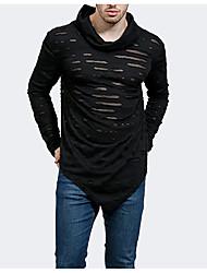 저렴한 -남자 티셔츠 - 솔리드 컬러 카울