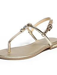 ieftine -Pentru femei Piele / PU Vară Sandale Toc Drept Vârf deschis Piatră Semiprețioasă / Cataramă Auriu / Alb / Negru