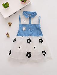 abordables -Bébé Fille Couleur Pleine Maille / Lacet Sans Manches Au dessus du genou Polyester Robe Rose Claire
