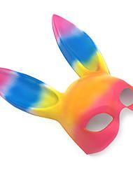 billige -Rabbit Mascot påskeharen Maske Voksne Dame Tegneserie Påske Festival / høytid PVC Regnbue Karneval Kostumer Fargeblokk