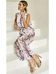 저렴한 -여성용 블러슁 핑크 점프 수트, 기하학 뒷면이 없는 스타일 / 프린트 M L XL