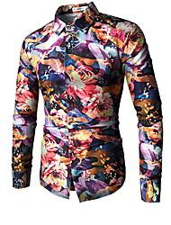 olcso -férfi vékony póló - tömör színű ing gallér