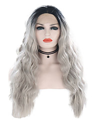 cheap -Synthetic Lace Front Wig Wavy Gray Middle Part Ombre Color Synthetic Hair 24 inch Women's Adjustable / Heat Resistant / Women Gray / Ombre Wig Long Lace Front / Ombre Hair