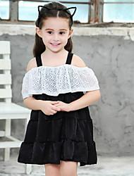 Χαμηλού Κόστους -Παιδιά Κοριτσίστικα Συνδυασμός Χρωμάτων Patchwork Φόρεμα Μαύρο