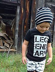 billige -Baby Drenge Aktiv / Basale Trykt mønster Trykt mønster Kortærmet Normal Bomuld / Spandex Tøjsæt Sort