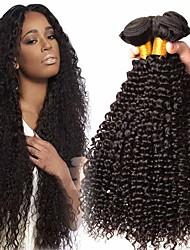 Недорогие -4 Связки Бразильские волосы Kinky Curly Необработанные натуральные волосы Головные уборы Человека ткет Волосы Пучок волос 8-28 дюймовый Естественный цвет Ткет человеческих волос