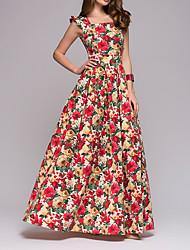 Недорогие -Жен. Богемный Элегантный стиль А-силуэт Платье - Цветочный принт, Оборки С принтом Макси