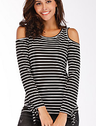 billige -kvinners t-skjorte - stripet rund hals