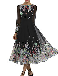 billige -Dame Elegant A-linje Kjole - Blomstret, Trykt mønster Midi