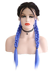 cheap -Synthetic Lace Front Wig Matte Blue Middle Part Black / Blue Synthetic Hair 24 inch Women's Adjustable / Heat Resistant / Women Blue / Ombre Wig Long Lace Front / Ombre Hair