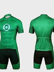 お買い得  -男性用 女性用 半袖 ショーツ付きサイクリングジャージー - フォレストグリーン バイク 速乾性 スポーツ スーパーヒーロー マウンテンサイクリング ロードバイク 衣類 / 伸縮性あり