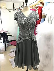 abordables -Corte en A Escote en Pico Hasta la Rodilla Raso / Encaje Vestido de Madrina con Detalles de Cristal / Encaje por LAN TING BRIDE®