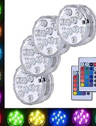Недорогие -4шт 3 W Подводное освещение Водонепроницаемый / Дистанционно управляемый / Декоративная RGB 5.5 V Бассейн / Подходит для ваз и аквариумов 10 Светодиодные бусины