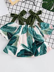 abordables -Niños Chica Activo Estampado / Bloques Espalda al Aire / Lazo / Acordonado Manga Corta Poliéster Camisa Verde Trébol