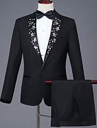 abordables -Hombre trajes, Un Color Solapa de Pico Acrílico / Poliéster Negro XXL / XXXL / XXXXL