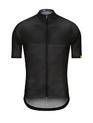 Недорогие -Муж. С короткими рукавами Велокофты Черный Сплошной цвет Велоспорт Джерси Верхняя часть Виды спорта Терилен Одежда / Эластичность