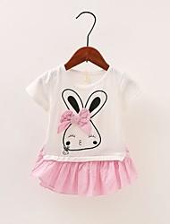 voordelige -Baby Meisjes Standaard Print Patchwork Korte mouw Boven de knie Polyester Jurk Blozend Roze