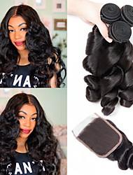 Недорогие -3 комплекта с закрытием Индийские волосы Свободные волны 100% Remy Hair Weave Bundles Человека ткет Волосы Накладки из натуральных волос Волосы Уток с закрытием 8-24 дюймовый Черный Естественный цвет