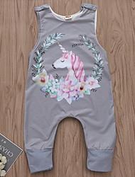 お買い得  -赤ちゃん 女の子 ストリートファッション プリント ノースリーブ ポリエステル ワンピース グレー