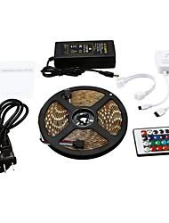 Недорогие -5 метров Гибкие светодиодные ленты / RGB ленты 300 светодиоды SMD5050 1 пульт дистанционного управления 24Keys / 1 до 2 кабельных разъемов / 1 х 12 В 5A блок питания RGB + белый